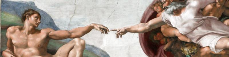 Détail du tableau de Michel Ange de la création d'Adam